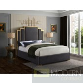 Hugo King Grey Velvet Upholstered Bed LOCAL DMV DEALS