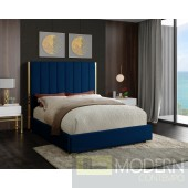 Ballys King Navy Velvet Bed Open Box