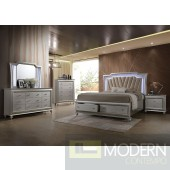 Modern Glam Metallic Silver Upolstered PU Style with LED Lighting on Headboard Set