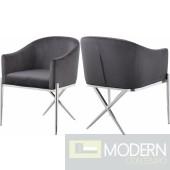 Zena X Grey Velvet dining chair Chrome Instore Item DMV deals