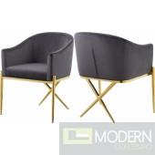 Zena X Grey Velvet dining chair GOLD Instore Item DMV deals