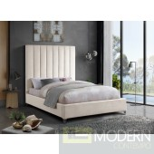VIA Cream  Queen Velvet Platform Bed LOCAL DMV DEALS