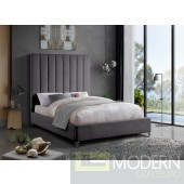Demi Grey Velvet Bed Queen