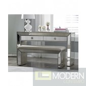 Savonia Mirrored Vanity Console Table with Bench Set (Silver Inlays)