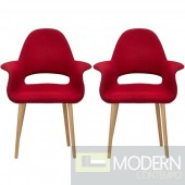 Set of 2 Saarinen Style Red Forza fabric dining chairs
