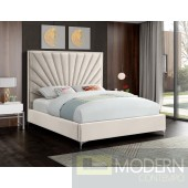 Eclipse Velvet Platform Queen Bed OPEN BOX