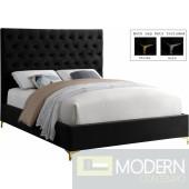 Cruz Black Velvet Bed Upholstered Bed DMV DEAL