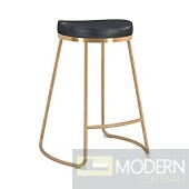 Bree Bar Stool in Black Leatherette on Gold Stainless  (Set of 4)
