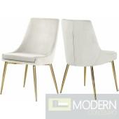 Lusso Velvet gold Dining Chair - Set of 2 CREAM LOCAL DMV DEALS