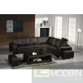 Divani Casa 3330 - Modern Espresso Bonded Leather Sectional Sofa Set