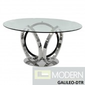 "Cycle Modern Round 59""Glass Table with Hand Polished Stainless Steel base"
