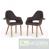 Set of 2 Saarinen Style Grey Forza fabric dining chairs