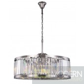 "35.5"" Greenwich 10 Light Crystal Chandelier In Polished Nickel With Royal Cut Silver Shade Grey Crystal"