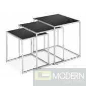 Pasos Nesting Table Tempered Glass Black