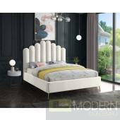 Lily Cream Velvet Upholstered Bed LOCAL DMV DEALS