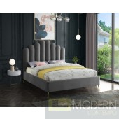 Lily Grey Velvet Upholstered Bed LOCAL DMV DEALS