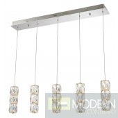 """Monte Cristallo Hang L36""""H80"""" 37.5W 3000LM Chrome Finish with Clear Crystal Pendants"""