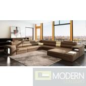 Divani Casa Polaris Brown Italian Leather Sectional Sofa