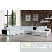 Divani Casa Polaris - Contemporary White Bonded Leather Sectional Sofa with Lights