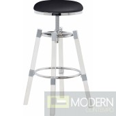 I See Paris Faux Leather Adjustable Bar Counter Stool  - Set of 2 CHROME