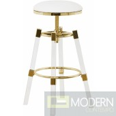 I See Paris Faux Leather Adjustable Bar Counter Stool  - Set of 2 GOLD
