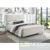 Zara Cream Velvet Bed, FULL