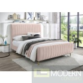 Zara Pink Velvet Bed, Queen