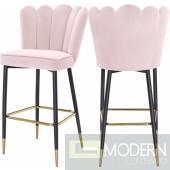 Endora pink Velvet Bar stool - Set of 2