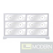 Burch mirrored six drawer dresser in white 60""