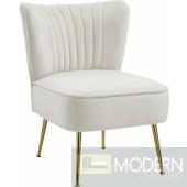 TESS Cream Velvet Accent Chair. Instore Item DMV deals