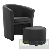 Divulge Armchair & Ottoman Black