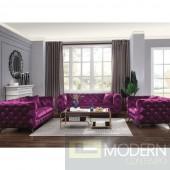 3PC Palazzo Luxury Purple Velvet Sofa Set