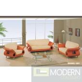 Modern Leather Sofa, love seat & Chair living Room set Beige & Orange