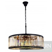 "35.5"" Greenwich 10 Light Crystal Chandelier In Matte Black With Royal Cut Golden Teak Smoky Crystal"