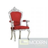 LUCREZIA Silver/Red Victorian French Style Accent Arm Chair
