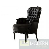 ATHENA Black/Button Tufted Victorian French Style Accent Arm Chair