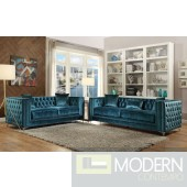 Valleria Dark Teal Velvet Sofa & Loveseat Living room set