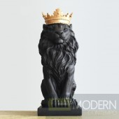 Black Lion Figurine with Gold Crown