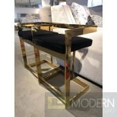 Set of 2 Gold/Black Velvet Zhane Bar Stools