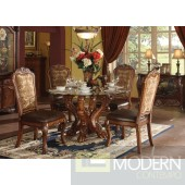 60010 Dresden Round Glass Top Formal Traditional Dining Set