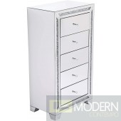 Spellbound 25.5 in. crystal mirrored 5 drawer cabinet