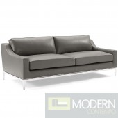 "Enzo 83.5"" Stainless Steel Base Leather Sofa in Grey"