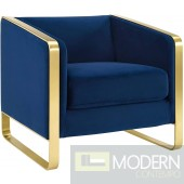 Alberta Accent Lounge Velvet Chair NAVY