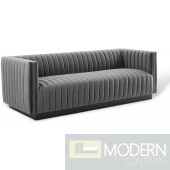 Surreal Channel Tufted Velvet Sofa GRAY