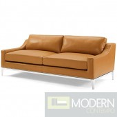 "Enzo 83.5"" Stainless Steel Base Leather Sofa in Tan"