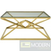 """Yolanthe 39.5"""" Brushed Gold Metal Stainless Steel Coffee Table in Gold"""