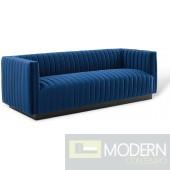 Surreal Channel Tufted Velvet Sofa NAVY