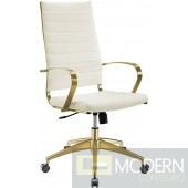 Elevate Stainless Steel High back Office Chair in Gold White