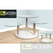 Contemporary Norway White Swivel Lacquer Coffee Table