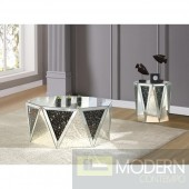Tanzi Mirrored Glass Coffee Table with Black Crystals